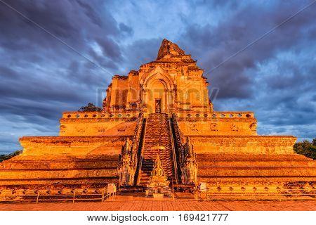 Wat Chedi Luang in Chiang Mai, Thailand.