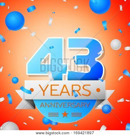 Forty three years anniversary celebration on orange background. Anniversary ribbon