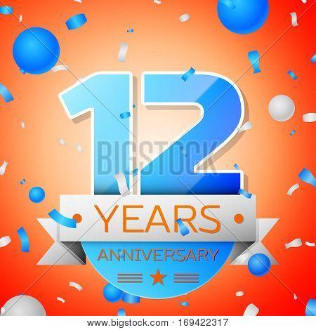 Twelve years anniversary celebration on orange background. Anniversary ribbon