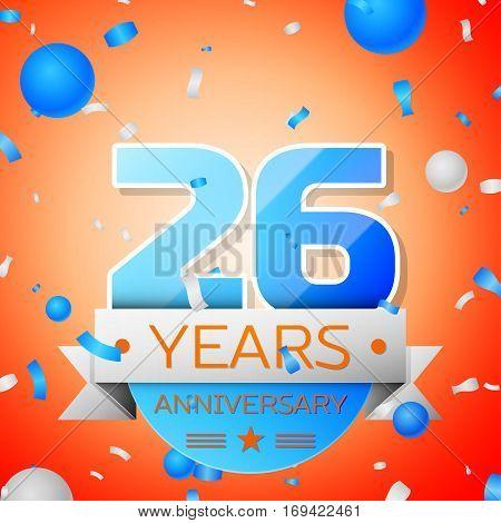 Twenty six years anniversary celebration on orange background. Anniversary ribbon