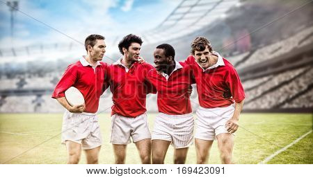 Rugby fans in arena against rugby players smiling with arms around 3d