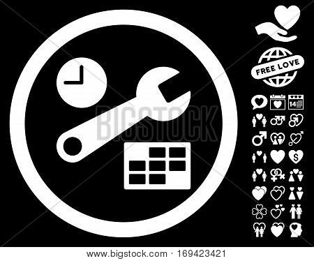 Date And Time Setup pictograph with bonus amour pictograph collection. Vector illustration style is flat rounded iconic white symbols on black background.