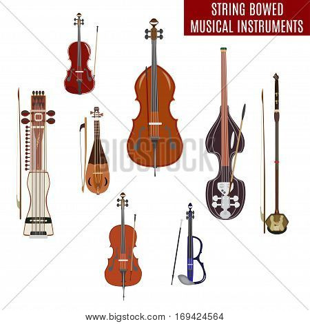 Vector set of string bowed musical instruments in flat design. Classical and electric violin double bass erhu rebec cello sarangi isolated on white background.