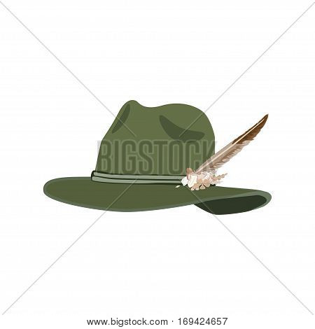 Vector illustration of hunting hat with feather and metal badge with blackcock oak leaves and acorns. Flat style design.