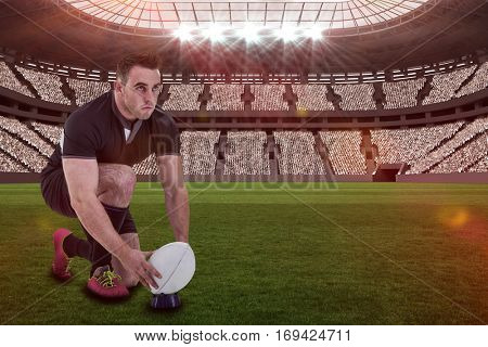Rugby player getting ready to kick ball against rugby stadium with copy space 3d