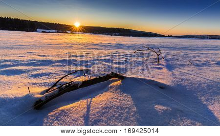 Winter snowy landscape lit by the setting sun. Moravian landscape Horni Stepanov.