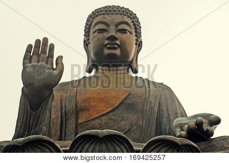 Famouse Big Buddha on Lantau Island, Hong Kong (China)
