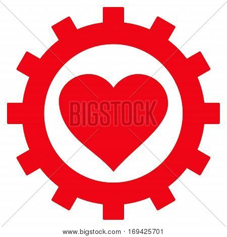 Love Heart Options Gear flat icon. Vector red symbol. Pictogram is isolated on a white background. Trendy flat style illustration for web site design logo ads apps user interface.