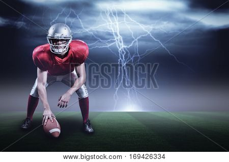 American football player holding helmet against stormy dark sky with lightning bolts with copy space 3d