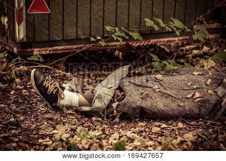 Dead Body Legs In Leaves