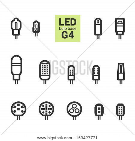 Led Light G4 Bulbs Vector Outline Icon Set