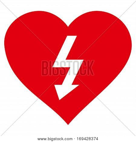 Power Love Heart flat icon. Vector red symbol. Pictograph is isolated on a white background. Trendy flat style illustration for web site design logo ads apps user interface.