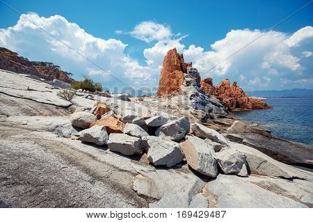 Red rocks and turquoise water of Arbatax, Sardinia, Italy