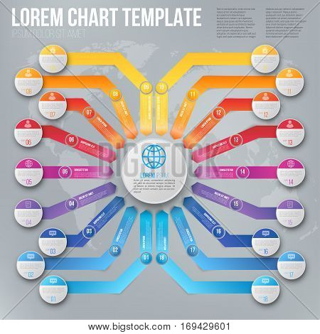 Polygraphy or web vector template of business chart with different ways arrows pointed to one target or goal, from 9 different starting position. Vector infographics template