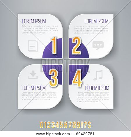 Flower Style Violet Colored Bright Infographics Vector Numbers Set for Options. Template for brochure, business charts, web design and posters