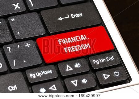 On The Laptop Keyboard The Red Button Written Financial Freedom