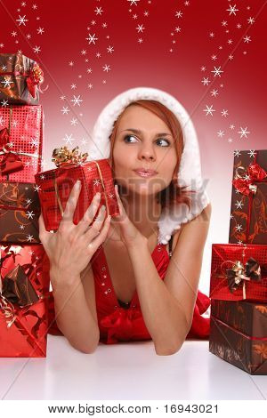 sexy young Santa-girl with presents
