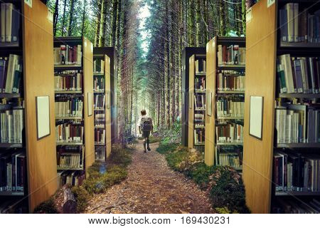 Cute pupil walking to the forest against close up of a bookshelf 3d