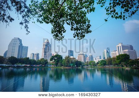 Business district cityscape from Central park, Bangkok Thailand