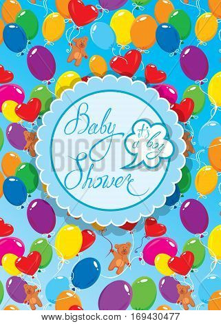 Baby Shower with round frame air balloons and Teddy bears on blue background. Calligraphic text Its a boy. Congratulations on the birth of babyboy.