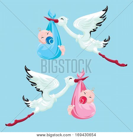 Set of images. Stork with boy and girl. Elements for newborn or childbirth design card invitation shower etc.