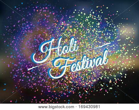Holi spring festival of colors greeting beautiful background with colorful Holi powder(gulal) paint clouds.