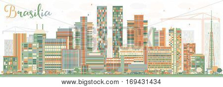 Abstract Brasilia Skyline with Color Buildings. Vector Illustration. Business Travel and Tourism Concept with Modern Architecture. Image for Presentation Banner Placard and Web Site.