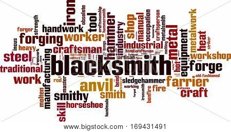 Blacksmith word cloud concept. Vector illustration on white