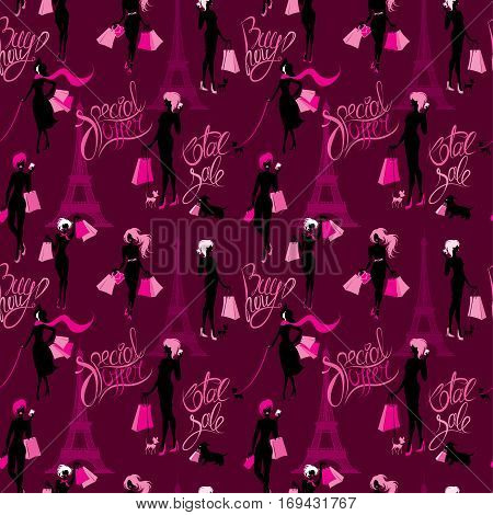 Seamless pattern - Effel Tower girls silhouettes with shopping bags and calligraphic text Total sale Buy now Special offer Background for fashion or retail design.