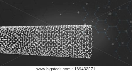 3d illustration of nanotube molecule. on dark backround