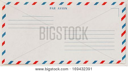 Single white Airmail Envelope Front envelope, for background, hobby and business