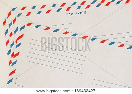 Several classic Airmail Envelope Front. Paper texture. With place your text, background use. Concept of postal development, written correspondence, collecting as a hobby and business