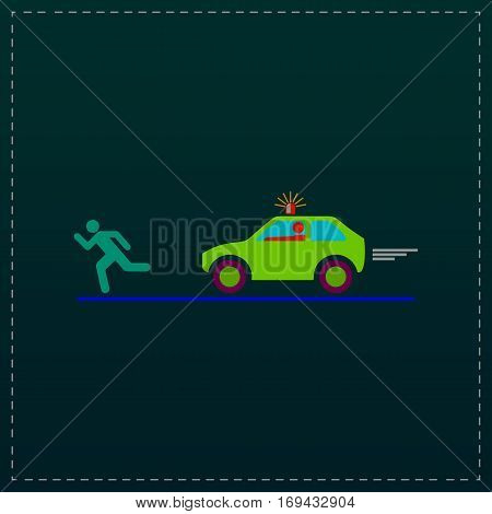 Robber and police car. Color symbol icon on black background. Vector illustration