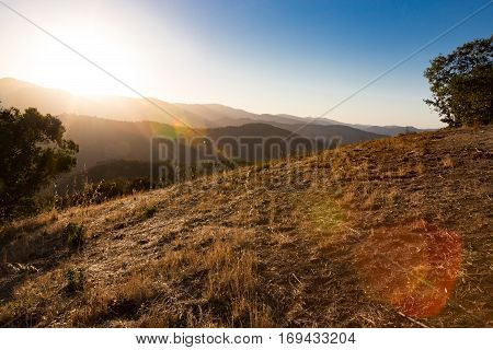 Beautiful sunset near Carmel Valley in California.