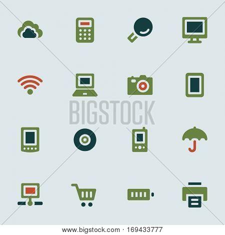 Cloud computing web icons set. Electronics and computers mobile symbols.