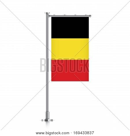 Belgium vector banner flag hanging on a silver metallic pole. Vertical Belgium flag template isolated on a white background.