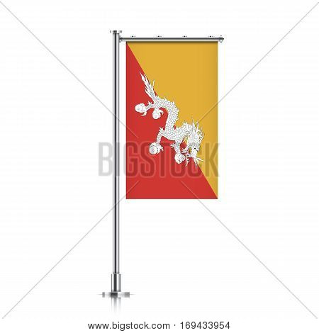 Bhutan vector banner flag hanging on a silver metallic pole. Vertical Bhutan flag template isolated on a white background.