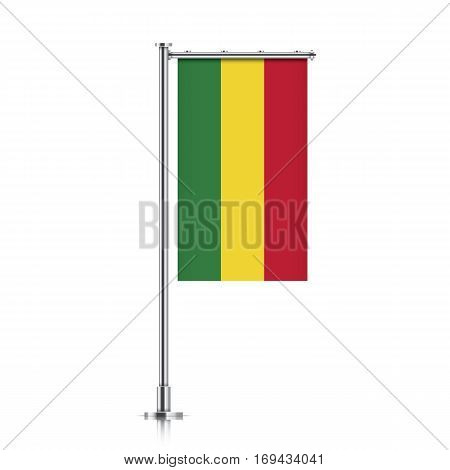 Bolivia vector banner flag hanging on a silver metallic pole. Vertical Bolivia flag template isolated on a white background.