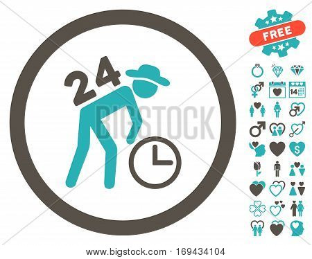 Around The Clock Work pictograph with bonus valentine icon set. Vector illustration style is flat rounded iconic grey and cyan symbols on white background.