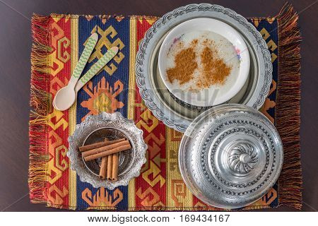 Rice pudding (sutlac) with cinnamon from above