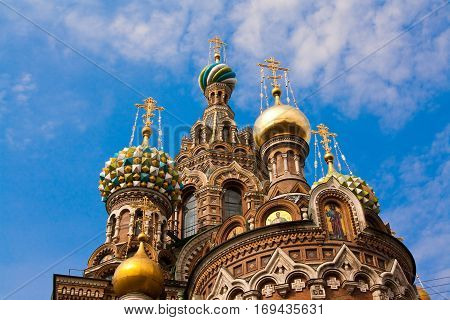 The church by the canal. White nights Saint-Petersburg Russia..Night view of Griboyedov Canal and Church of the Savior on Blood.