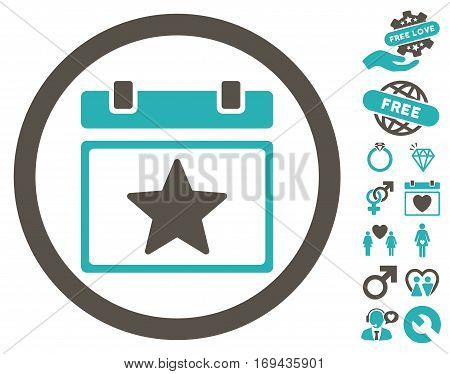 Favourites Day icon with bonus decoration design elements. Vector illustration style is flat rounded iconic grey and cyan symbols on white background.