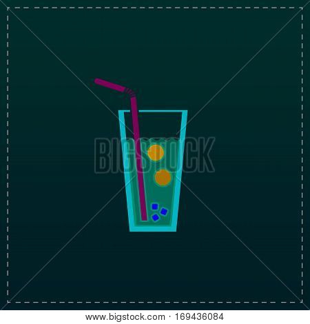 Ice drink with straw. Color symbol icon on black background. Vector illustration