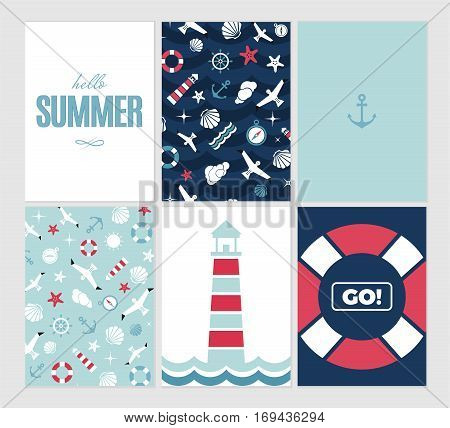 Vector flat sea design card set with text. Cute template with seashell seagull bird lighthouse lifebuoy starfish anchor and ocean waves.