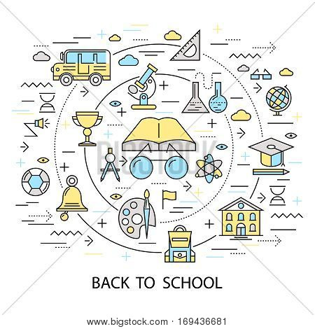 School round composition with elementary school accessories symbols with outline decorative lines and text caption flat vector illustration