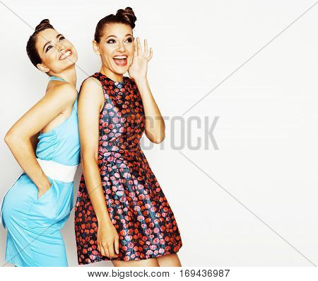 many girlfriends hugging celebration on white background, smiling talking chat, girl next door close up wondering sweety group, lifestyle real people close up