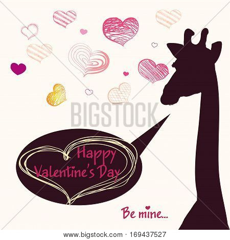 Happy Valentines Day Card With Girafe
