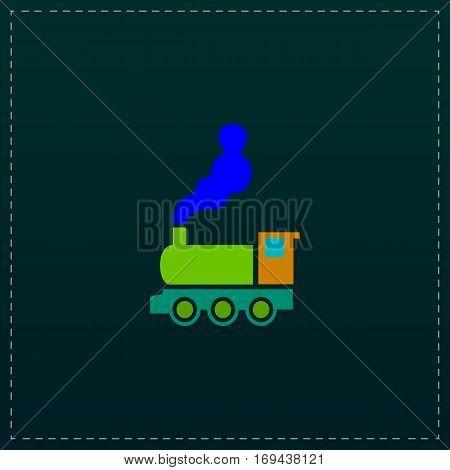 Train - classic locomotive. Color symbol icon on black background. Vector illustration