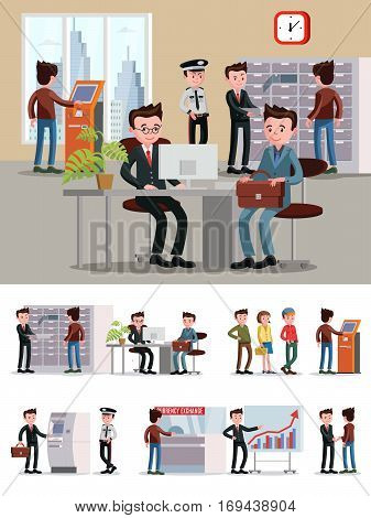 Financial service people composition with workers and customers in different situations in bank office vector illustration