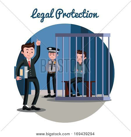 Law judicial system template with attorney police officer and accused sitting in cage vector illustration